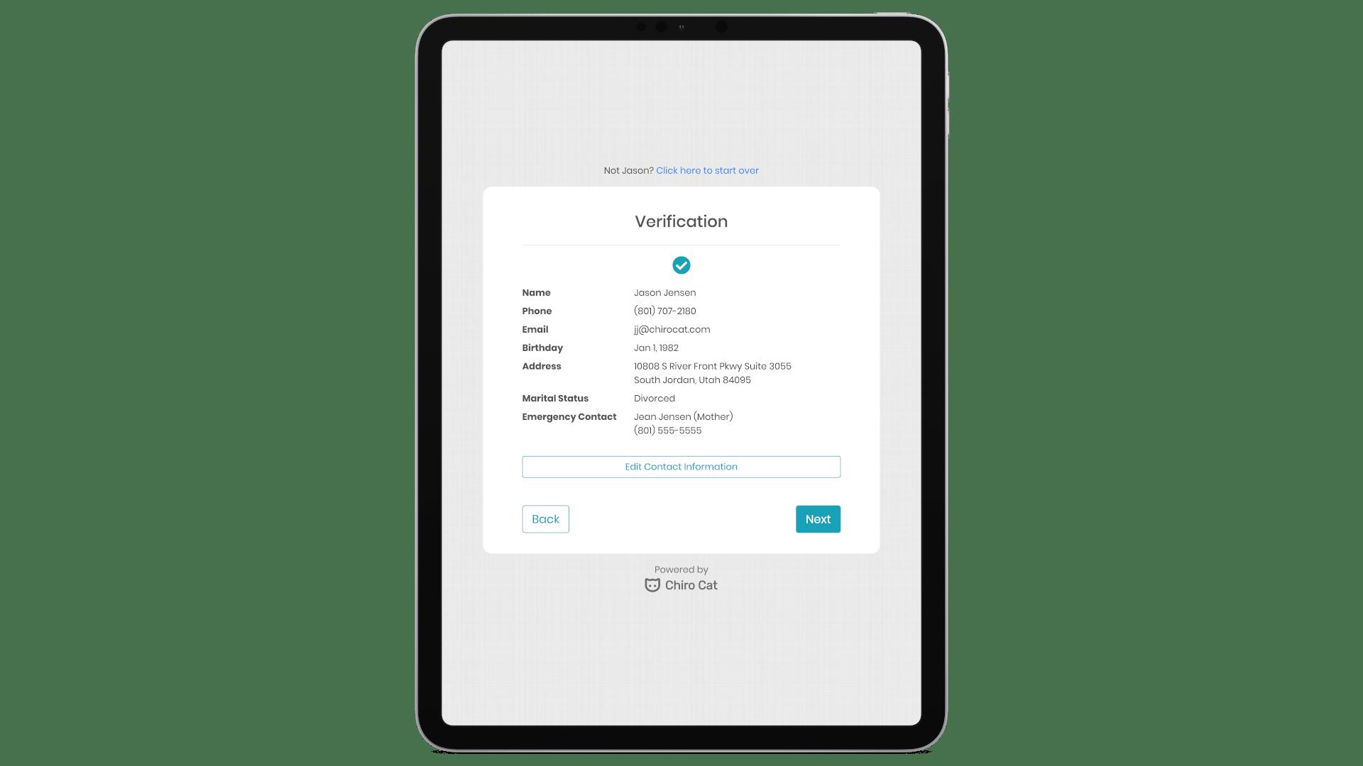Chiro Cat Patient Verification